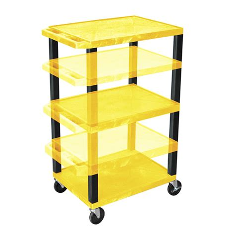 Multi Shelf Cart by Luxor Wt1642y B Yellow 3 Shelf Multi Height Cart