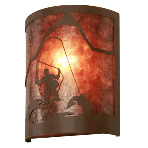 Fisherman Wall Sconce by Rustic Wall Sconces Fly Fisherman Timber Ridge Sconce