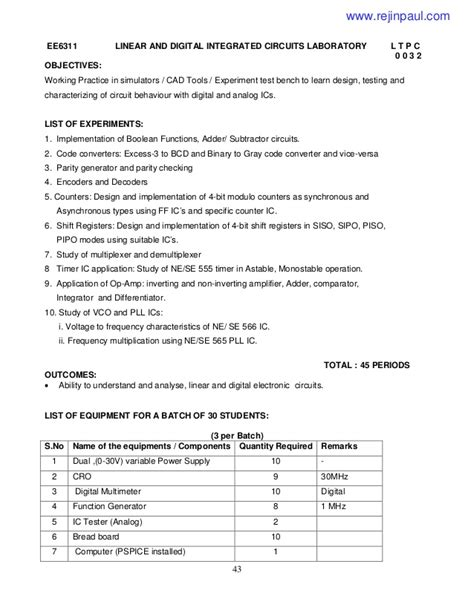 linear integrated circuits syllabus for ece linear integrated circuits syllabus for ece 2013 regulation 28 images 2013 regulation