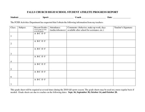 High School Progress Report Card Template by Falls Church High School Student Athlete Progress Report