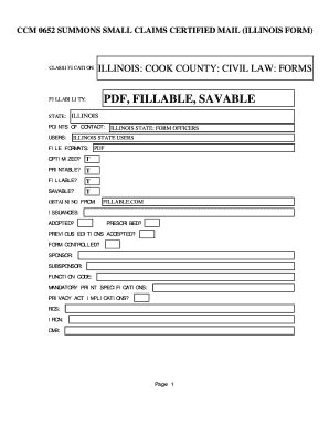 Cook County Civil Search Fillable Ccm 0652 Summons Small Claims Certified Mail Illinois Form Illinois