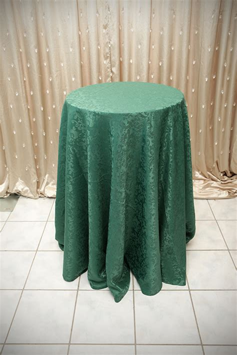forest green table linens peacock satin tablecloth with chagne swirl right