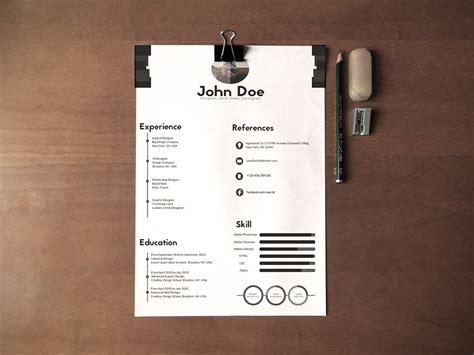 black white minimalistic resume cv design