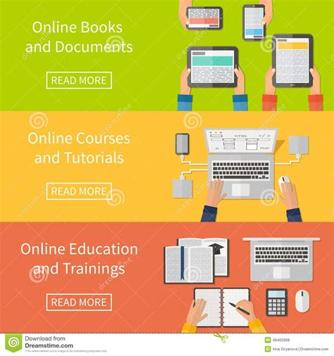 online tutorial literature search online education online training courses and stock vector