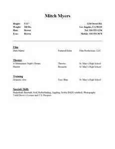 Beginner Actor Resume Sle by Resume For A Beginner Resume Cv Cover Letter Writing