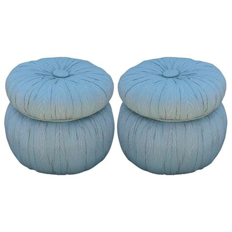 poufs ottomans charming pair of round tufted poufs or ottomans at 1stdibs