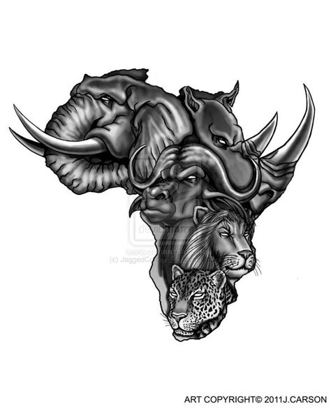 african animals in map african tattoo design knowledge