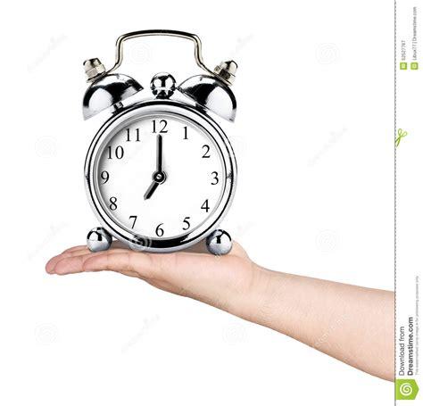 holding vintage retro clock alarm isolated stock image image of everyday business 52527767