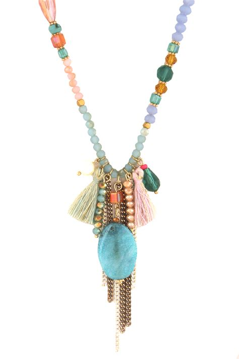 beaded necklace with tassel agate beaded tassel necklace necklaces