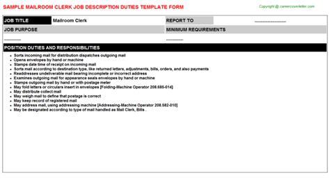 mailroom clerk description sle