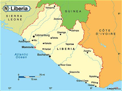 political map of liberia liberia political map by maps from maps world s