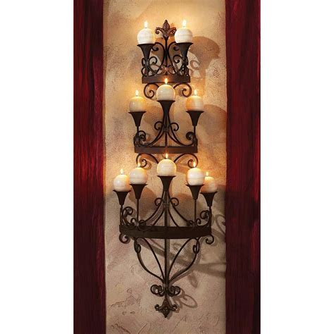 Chandelier Candle Wall Sconce Symphony Of Light Wall Mounted Matte Black Metal Scroll Candle Chandelier Sconce Ebay