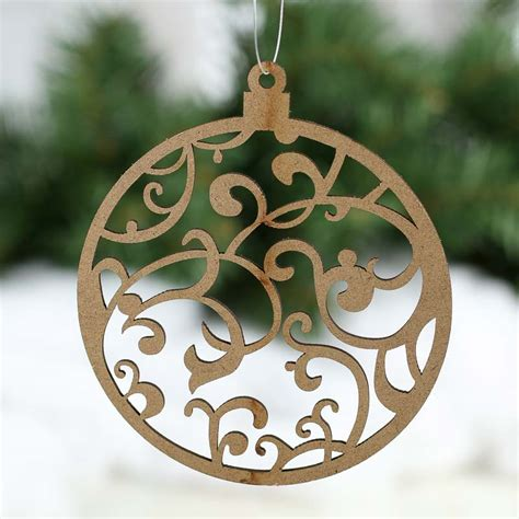 unfinished wood laser cut ball ornament cutouts