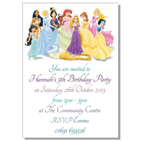princess invitation templates disney princesses birthday invitations disney princess
