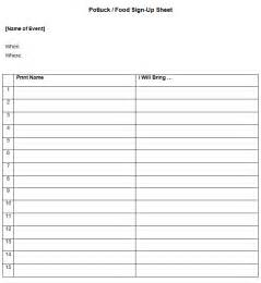 Sign up sheet template 11 best photos of downloadable potluck sign up