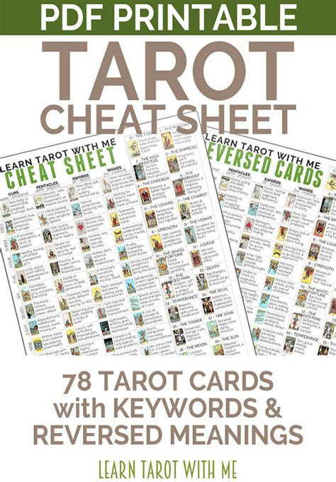 printable tarot cards download tarot card cheat sheet a tarot printable for divination and