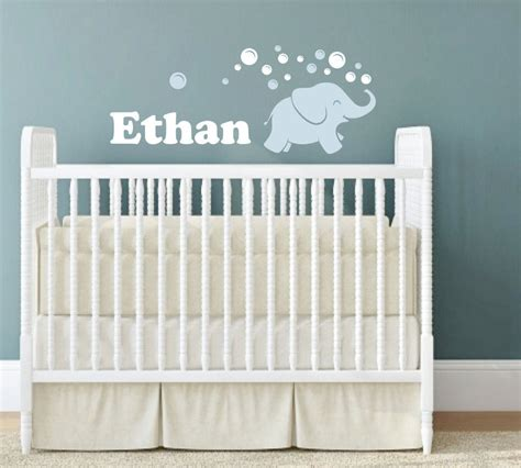 Elephant Wall Decal Elephant Blowing Bubbles Name Wall Nursery Wall Decor For Boys