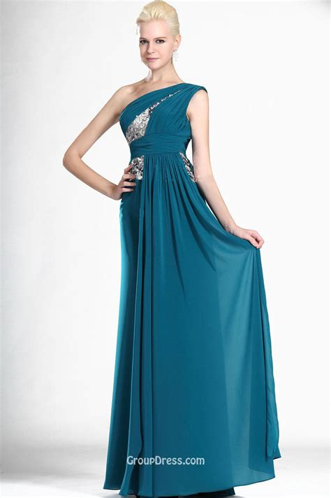 Asymmetrical One Shoulder Jade Blue Chiffon Elegant Long