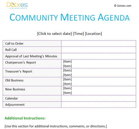 community template meeting agenda template community dotxes