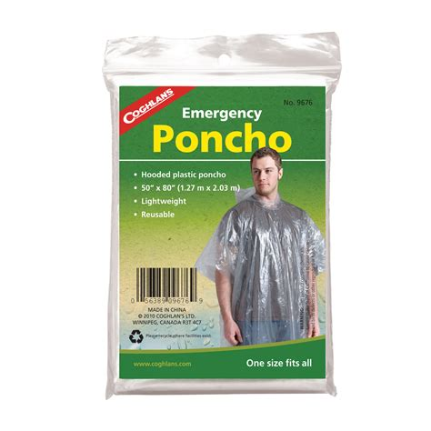 Walmart Kitchen Knives Emergency Rain Poncho Lightweight Clear Plastic Coghlan S