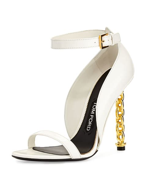 tom ford chain heel leather sandal in white chalk lyst