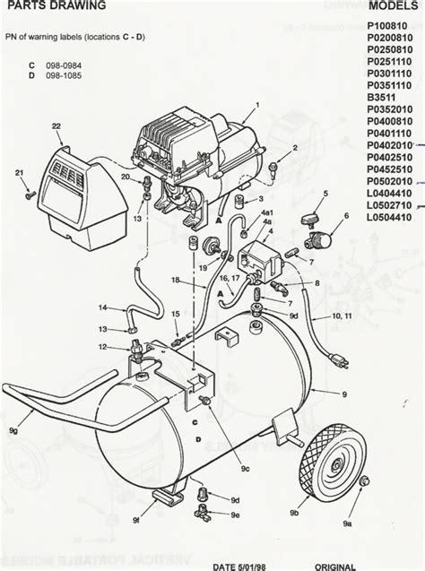 model  coleman powermate air compressor