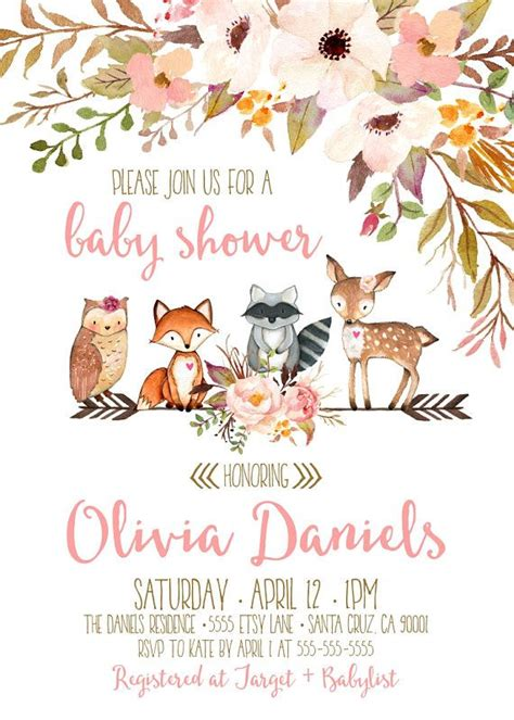 Woodland Themed Baby Shower Invitations by Best 25 Baby Shower Invitations Ideas On Diy