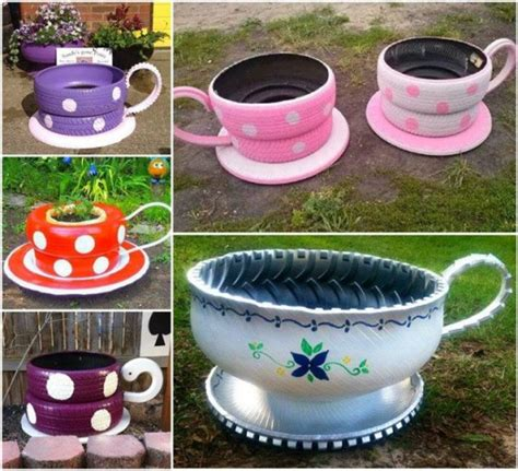 How To Make Tire Planters by How To Make Tire Teacup Garden Planters How To