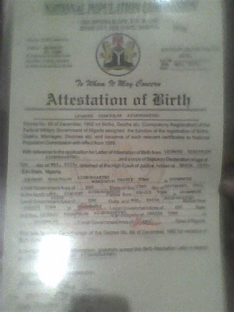 Birth Attestation Letter Dv 2014 Winners Meet Here Travel 30 Nigeria