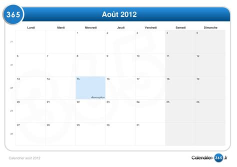 Calendrier 8 Aout Calendrier Ao 251 T 2012