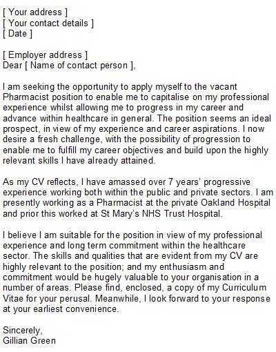 pharmacist cover letter template sle pharmacist covering letter