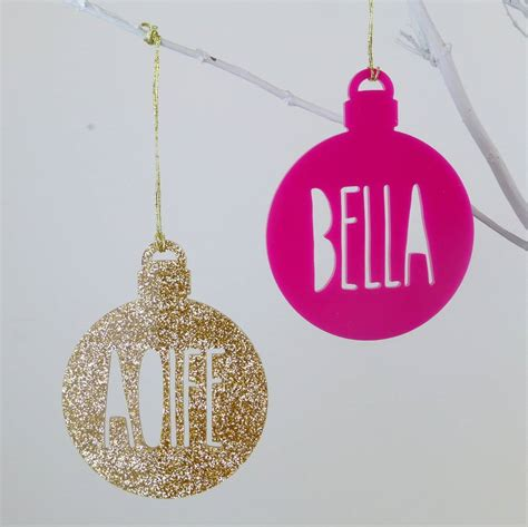 personalised name glitter christmas tree bauble by miss