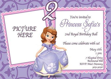 Custom Photo Invitations Sofia The First Birthday Invitation Sofia The Birthday Card Template