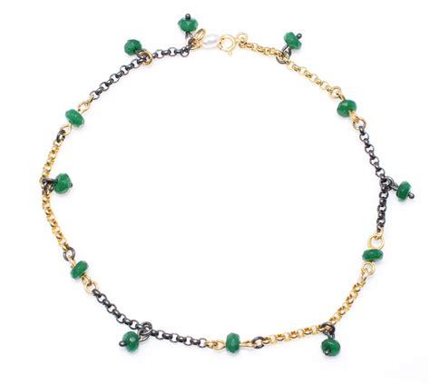 925 Sterling Silver Anklet 925 sterling silver emerald anklet