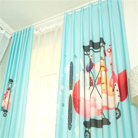 Baby Blue Curtains Nursery Baby Blue Patterned Cotton Room Nursery Curtains