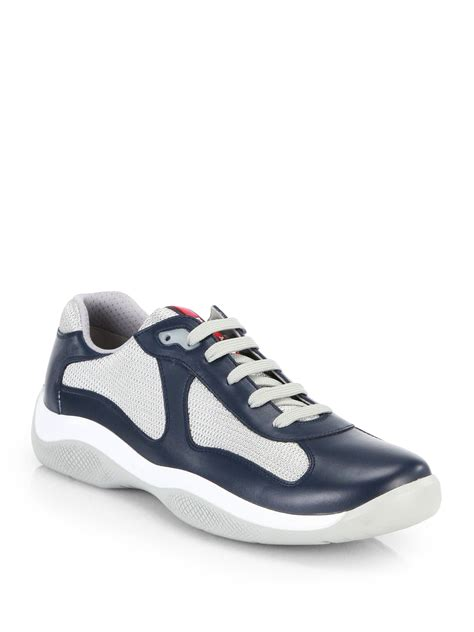 prada shoes for prada leather sneakers in blue for lyst