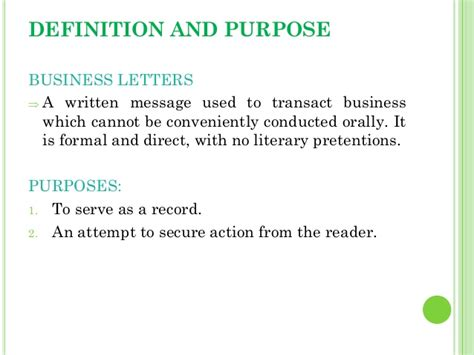 Business Letter Definition Purpose 2 Business Letters Purpose To Inform Congratulate Enquire Order Business Letters Purpose