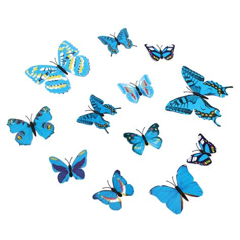 12pcs 3d blue colorful butterfly 12pcs 3d stickers blue butterfly wall decals home wedding