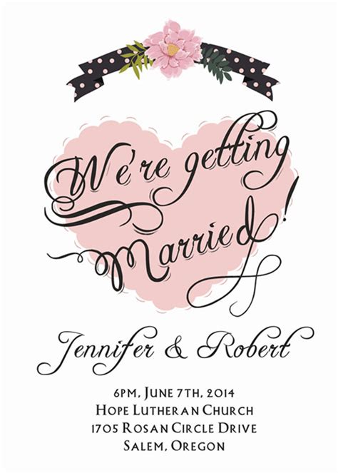 classic affordable blush pink heart wedding invitations