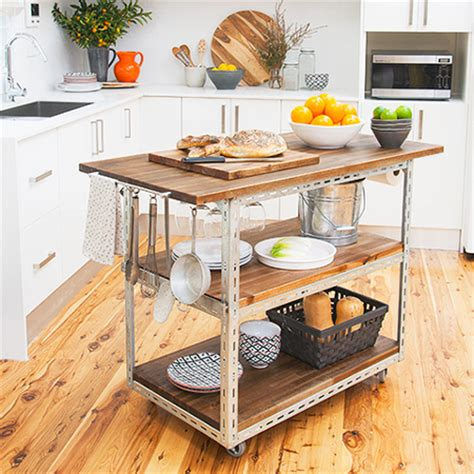 home dzine kitchen diy mobile kitchen island or workstation