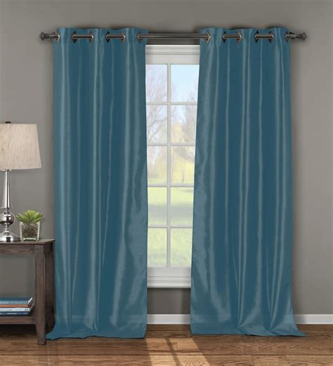 Blue Window Curtains Pair Of Andreas Blue Window Curtain Panels W Grommets