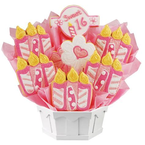 Happy 16th Birthday Cookie Bouquet   Cookies by Design