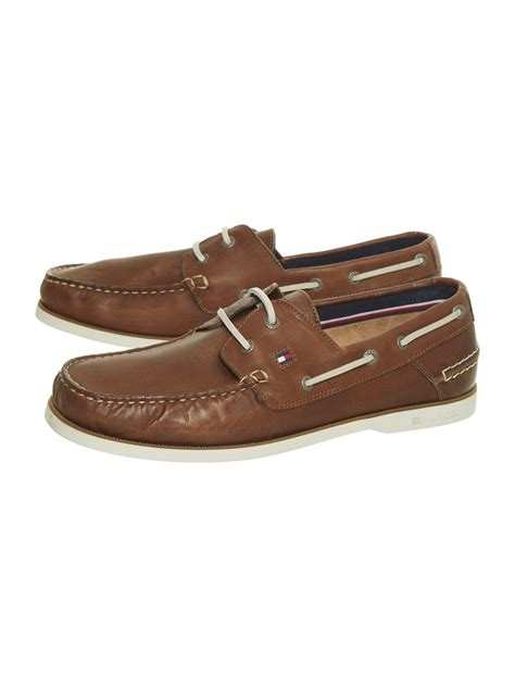 hilfiger leather boat shoes in brown for lyst