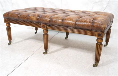 chesterfield bench decorator chesterfield leather oak bench ottoman
