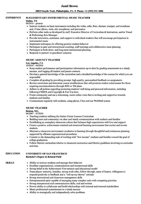 best exles of music teacher resumes images resume