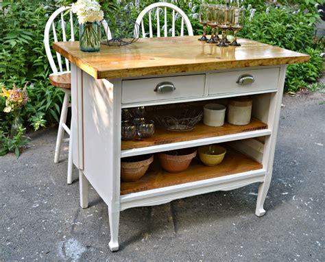 Repurposed Kitchen Island Ideas by Heir And Space Antique Dresser Turned Cottage Kitchen Island