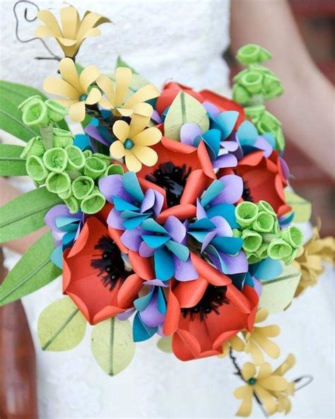 Flower Bouquet With Paper - memorable wedding using paper flowers in your wedding theme