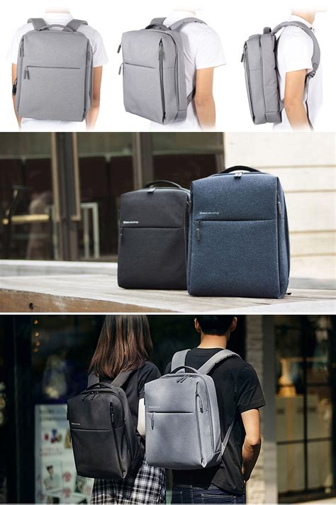 Xiaomi Mi 14 Inch Style Backpack Leisure Sports Bag Grey original xiaomi 14 inch style polyester backpack