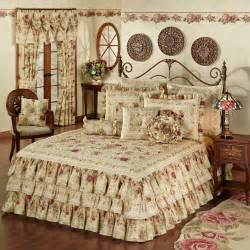 Deep Pink Curtains Vintage Rose Floral Ruffled Grande Bedspread