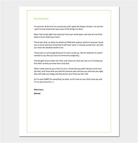 Apology Letter To Boyfriend After Lying apology letter for useful sle letters